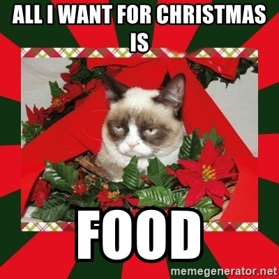 GRUMPY CAT ON CHRISTMAS - All i want for christmas is food