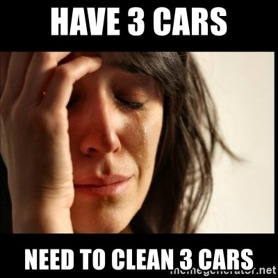First World Problems - Have 3 cars Need to clean 3 cars