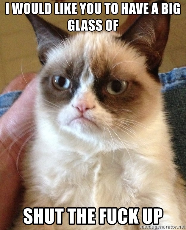 Grumpy Cat Face - I would like you to have a big glass of shut the fuck up