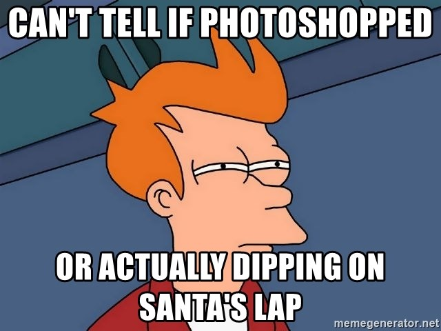 Futurama Fry - Can't tell if photoshopped or actually dipping on santa's lap
