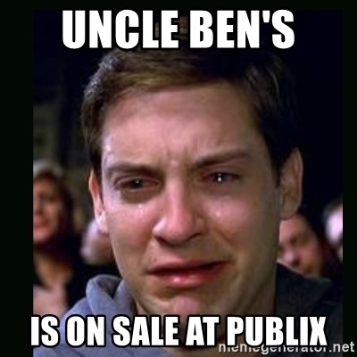 crying peter parker - uncle ben's  is on sale at publix