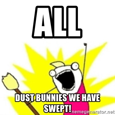 x all the y - all dust bunnies we have swept!