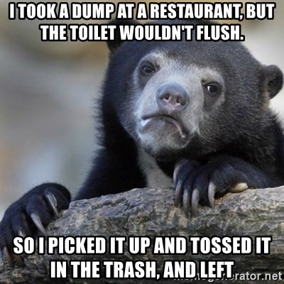 Confession Bear - i took a dump at a restaurant, but the toilet wouldn't flush. SO I PICKED IT UP AND TOSSED IT IN THE TRASH, AND LEFT