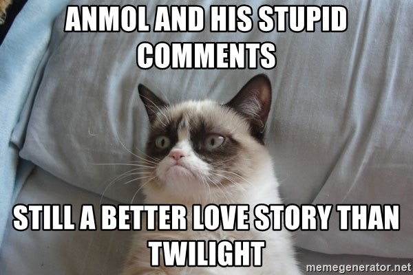 Grumpy cat good - Anmol and his stupid comments still a better love story than twilight