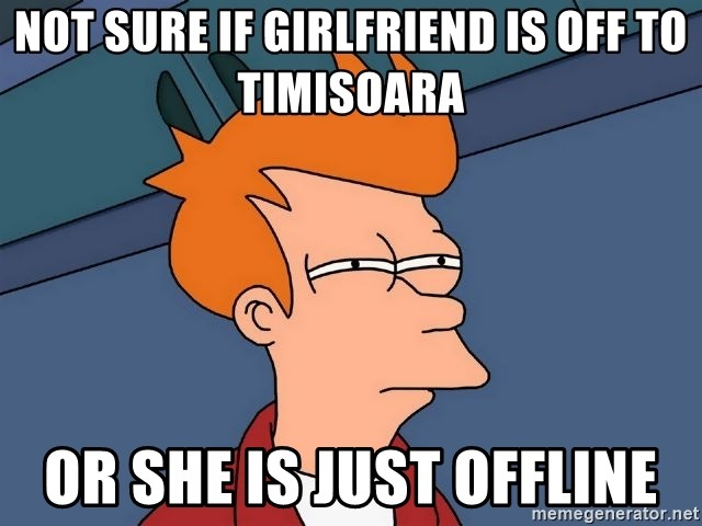 Futurama Fry - Not sure if girlfriend is off to timisoara or she is just offline