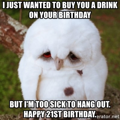 Sad Owl Baby - I just wanted to buy you a drink on your birthday  But I'm too sick to hang out. Happy 21st birthday.