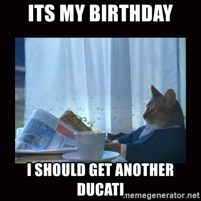i should buy a boat cat - Its my birthday I should get another ducati