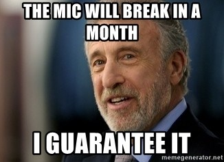 Mens Warehouse Guy - The mic will break in a month i guarantee it