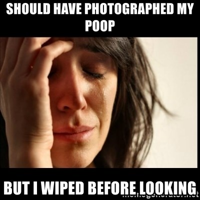First World Problems - should have photographed my poop but i wiped before looking