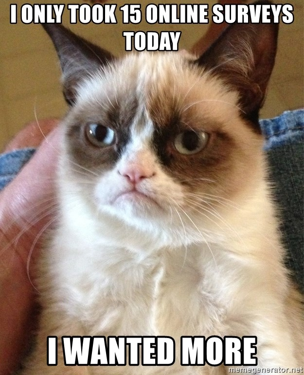 Grumpy Cat Face - i only took 15 online surveys today i wanted more