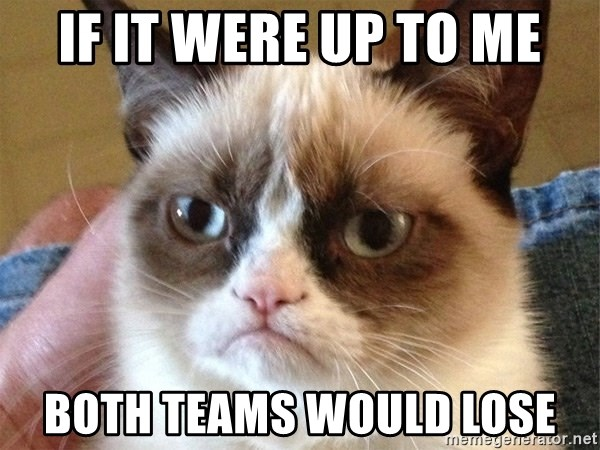 Angry Cat Meme - If it were up to me both teams would lose