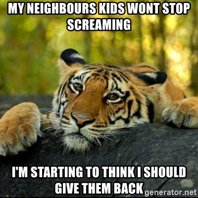 Confession Tiger - my NEIGHBOURS kids wont stop screaming  i'm starting to think i should give them back