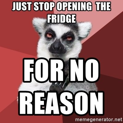 Chill Out Lemur - Just stop opening  the fridge  for no  reason