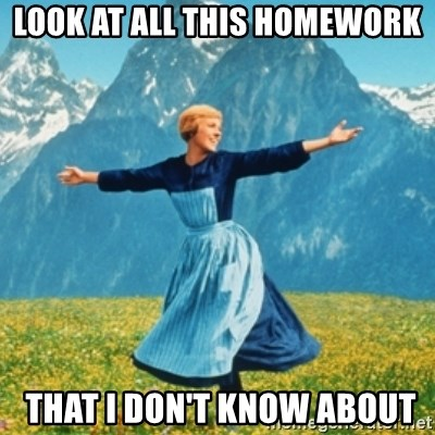 Sound Of Music Lady - look at all this homework  that I don't know about