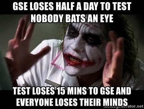 joker mind loss - GSE loses half a day to test Nobody bats an eye Test loses 15 mins to gse and everyone loses their minds