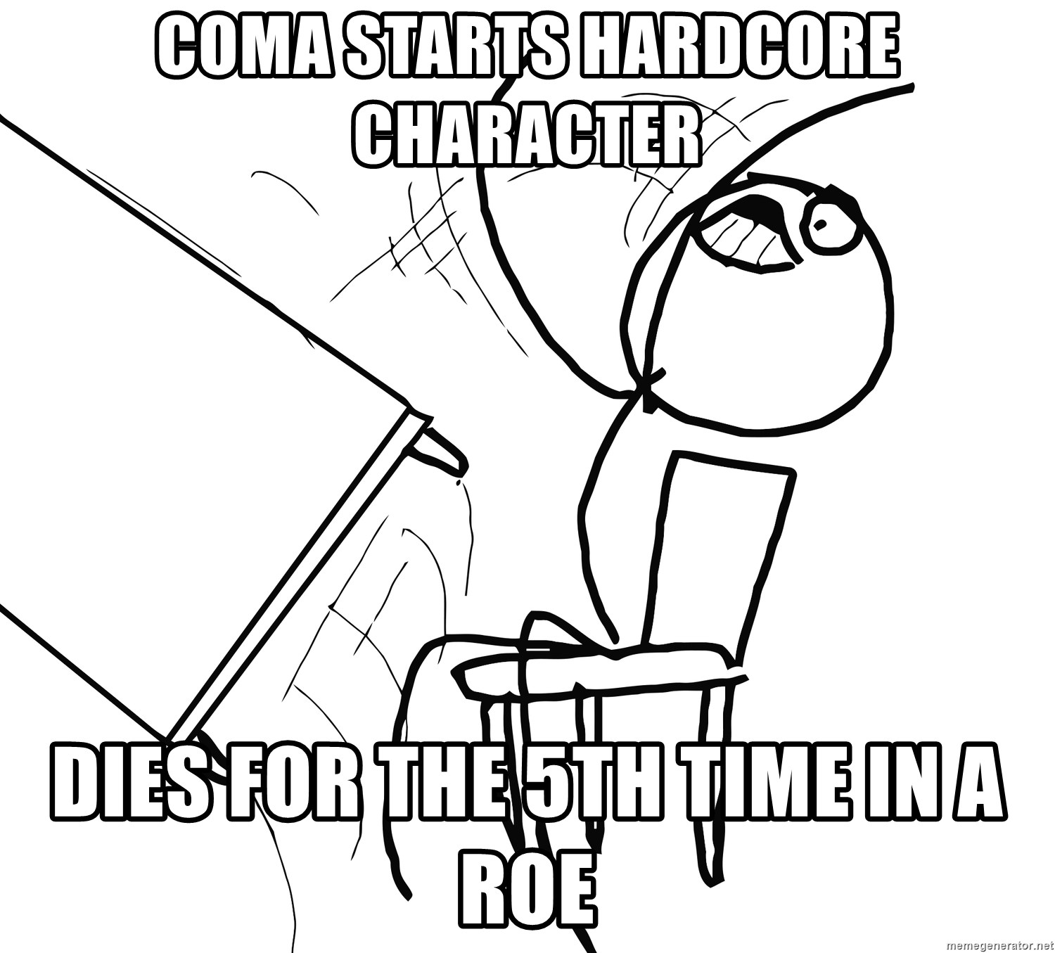 Desk Flip Rage Guy - Coma Starts Hardcore Character DIES FOR THE 5TH TIME IN A ROE