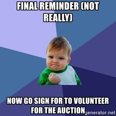 Success Kid - Final reminder (not really) now go sign for to volunteer for the auction