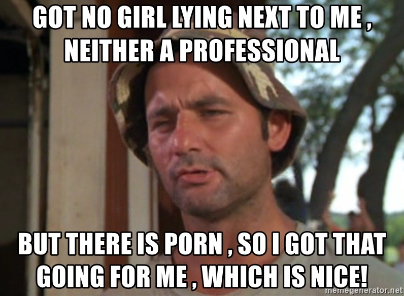So I got that going on for me, which is nice - Got no girl lying next to me , neither a professional  but there is porn , so i got that going for me , which is nice!