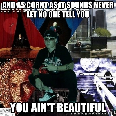 Crazy Eminem's Fan - And as corny as it sounds never let no one tell you  You ain't Beautiful