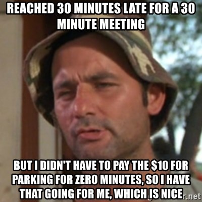 Carl Spackler - reached 30 minutes late for a 30 minute meeting but i didn't have to pay the $10 for parking for zero minutes, so i have that going for me, which is nice