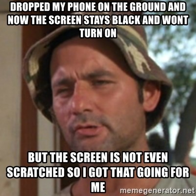 Carl Spackler - Dropped my phone on the ground and now the screen stays black and wont turn on But the screen is not even scratched so i got that going for me