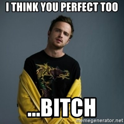 Jesse Pinkman - i think you perfect too ...bitch
