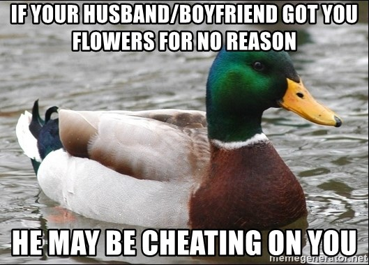 Actual Advice Mallard 1 - If your husband/boyfriend got you flowers for no reason he may be cheating on you