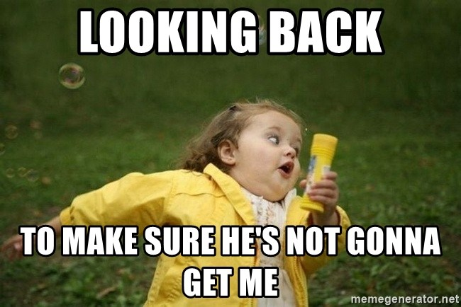 Looking Back To Make Sure He S Not Gonna Get Me Little Girl Running Away Meme Generator