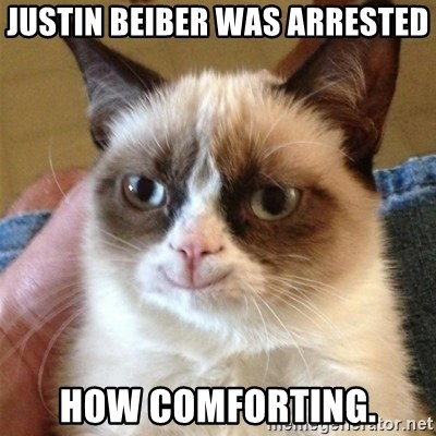 Grumpy Cat Smile - justin beiber was arrested how comforting.