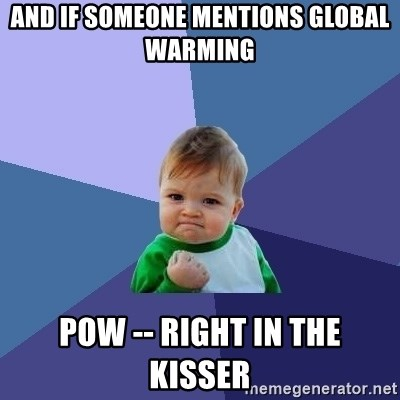 Success Kid - and if someone mentions global warming pow -- right in the kisser