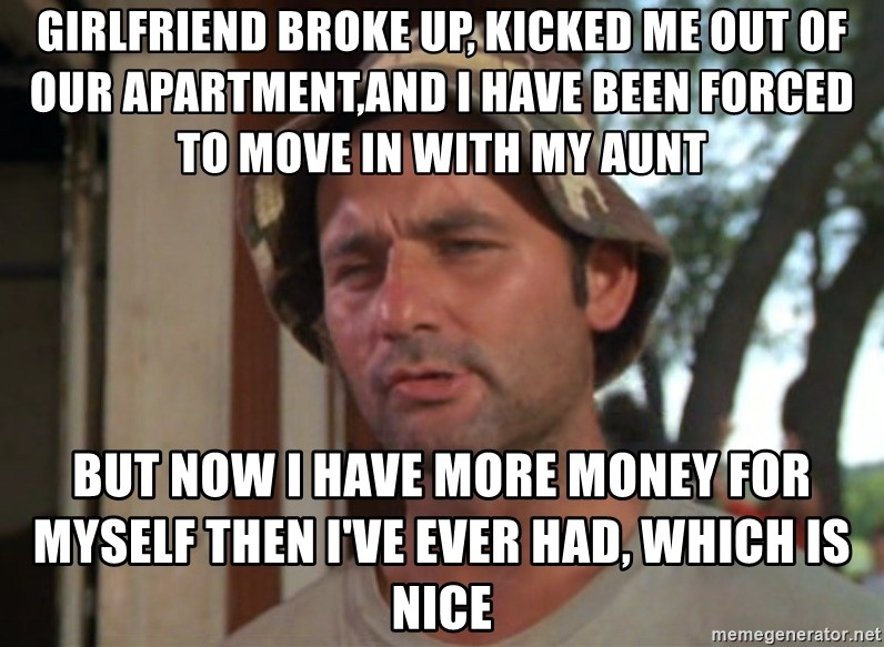 So I got that going on for me, which is nice - Girlfriend broke up, kicked me out of our apartment,and i have been forced to move in with my aunt But now i have more money for myself then i've ever had, which is nice