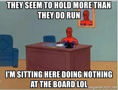 Spiderman Desk - They seem to hold more than they do run I'm sitting here doing nothing at the board lol