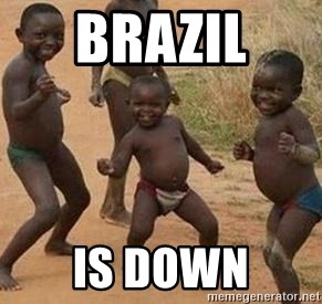 african children dancing - BRAZIL  is down