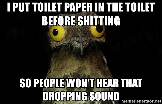 Weird Stuff I Do Patoo - I put toilet paper in the toilet before shitting so people won't hear that dropping sound