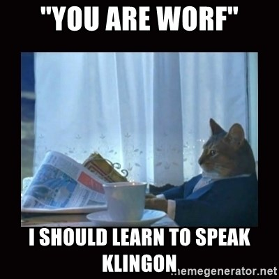"""i should buy a boat cat - """"You are worf"""" I should learn to speak klingon"""