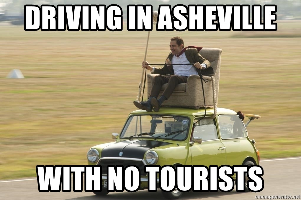 mr bean mini cooper - driving in asheville with no tourists