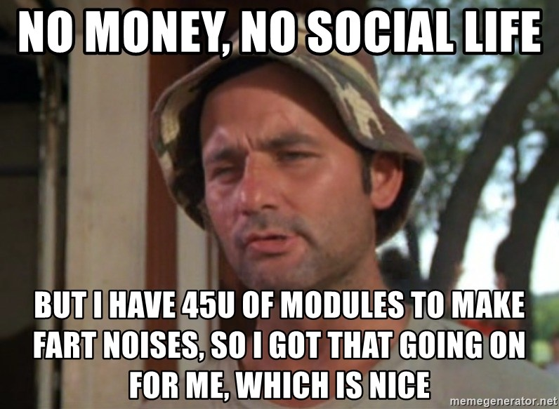 So I got that going on for me, which is nice - No money, no social life  BUT I HAVE 45U of modules to make fart noises, So I got that going on for me, which is nice
