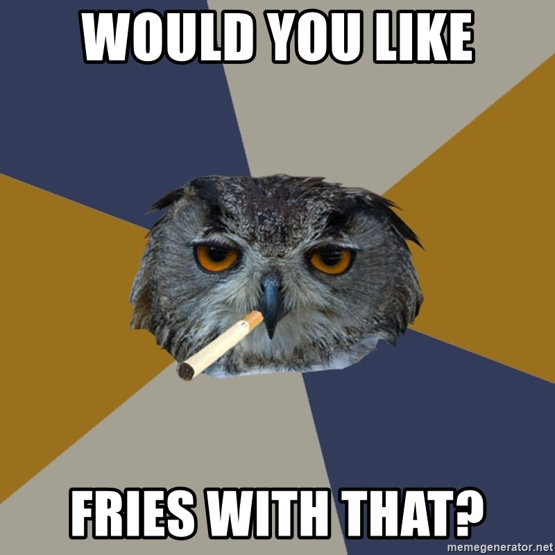 Art Student Owl - Would you like Fries with that?
