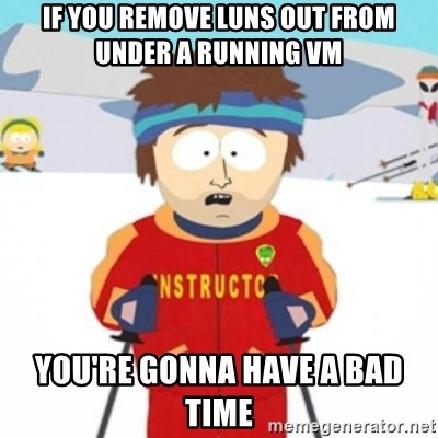 Bad time ski instructor 1 - If you remove luns out from under a running VM You're gonna have a bad time