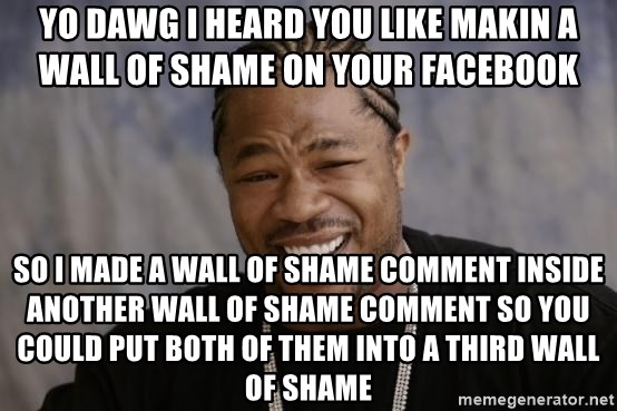 xzibit-yo-dawg - yo dawg i heard you like makin a wall of shame on your facebook so i made a wall of shame comment inside another wall of shame comment so you could put both of them into a third wall of shame
