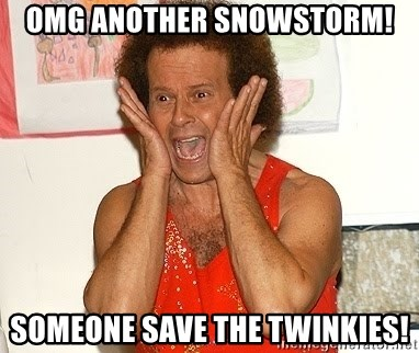 Richard Simmons Screaming - OMG ANOTHER SNOWSTORM! SOMEONE SAVE THE TWINKIES!