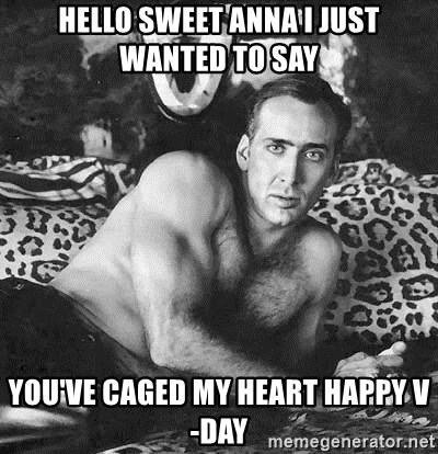Romantic Nicolas Cage - HELLO SWEET ANNA I JUST WANTED TO SAY YOU'VE CAGED MY HEART HAPPY V-DAY