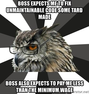ITCS Owl - boss expects me to fix unmaintainable code some tard made boss also expects to pay me less than the minimum wage