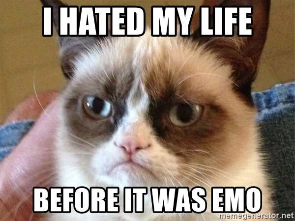 Angry Cat Meme - i hated my life before it was emo