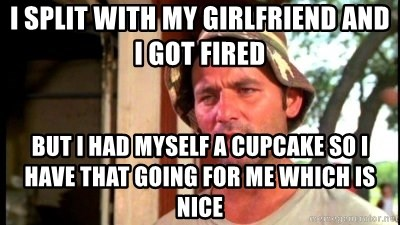 Bill Murray Caddyshack - I split with my girlfriend and I got fired But I had myself a cupcake so I have that going for me which is nice