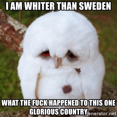 Sad Owl Baby - I am whiter than Sweden What The Fuck happened to this one glorious country