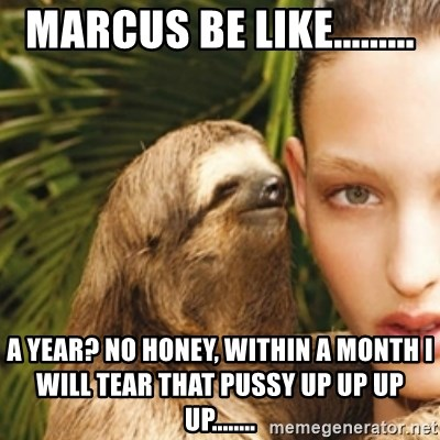 sexy sloth - Marcus be like......... a year? no honey, within a month I will tear that pussy up up up up........