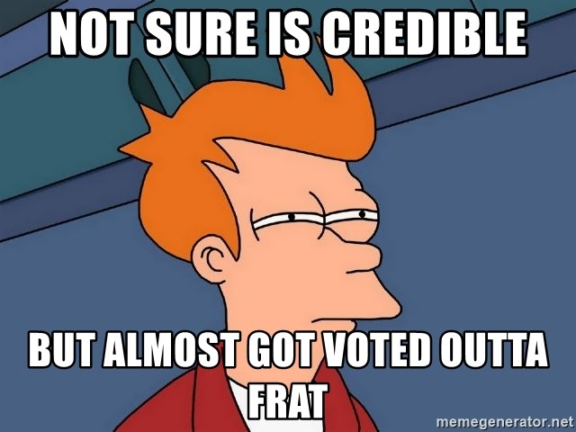 Futurama Fry - Not sure is credible but almost got voted outta frat