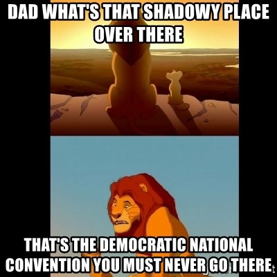 Lion King Shadowy Place - Dad what's that shadowy place over there that's the democratic national convention you must never go there