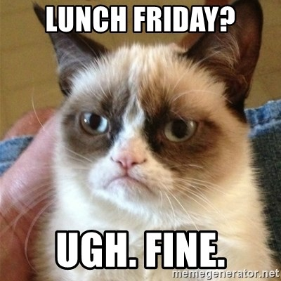 Grumpy Cat  - Lunch friday? Ugh. FIne.